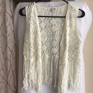 Boho Crochet Fringe Vest S
